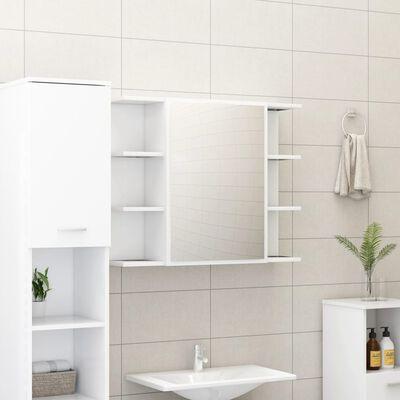 vidaXL Шкаф за баня с огледало, бял, 80x20,5x64 см, ПДЧ