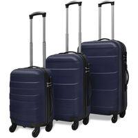 vidaXL комплект 3 броя твърди куфари на колелца, сини
