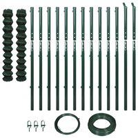 vidaXL Плетена оградна мрежа с колове, 1,97x25 м, зелена