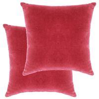 vidaXL Комплект възглавници, кадифе, 2 бр, 45x45 см, розов