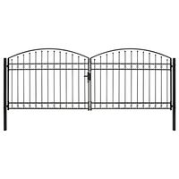 vidaXL Оградна порта с две врати арковидна стомана 400x150 см черна