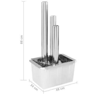 vidaXL Градински фонтан, сребрист, 48x34x88 см, неръждаема стомана