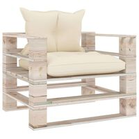 vidaXL Градински палетен диван с кремави възглавници, борово дърво