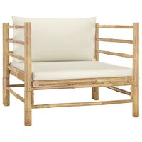 vidaXL Градински диван с кремавобели възглавници бамбук