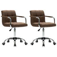 vidaXL Въртящи се трапезни столове, 2 бр, кафяви, текстил