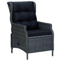 vidaXL Накланящ се градински стол с възглавници, полиратан, тъмносив