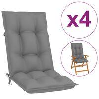 vidaXL Възглавници за градински столове, 4 бр, сиви, 120x50x7 см