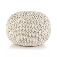 vidaXL Ръчно плетен пуф, памук, 50x35 см, бял