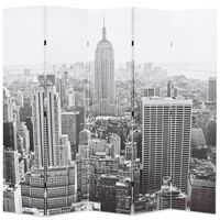 vidaXL Сгъваем параван за стая, 200x170 см, дневен Ню Йорк, черно-бял