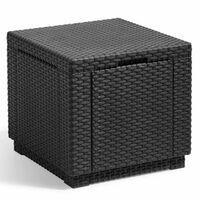 Allibert Табуретка с място за съхранение, куб, графит, 213816