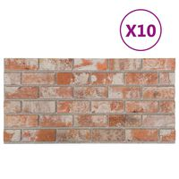 vidaXL 3D стенни панели, тухлен дизайн, червени, 10 бр, EPS