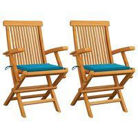 vidaXL Градински столове със сини възглавници 2 бр тиково дърво масив