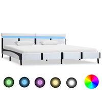 vidaXL Рамка за легло с LED, бяла, изкуствена кожа, 180x200 cм