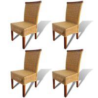 vidaXL Трапезни столове, 4 бр, кафяви, естествен ратан