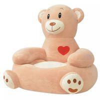 vidaXL Плюшен детски стол, мечка, кафяв