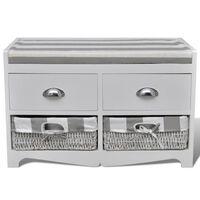 Пейка с място за съхранение с възглавница 2 чекмеджета 2 кошници бяла