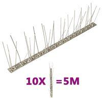 vidaXL 5-редови иноксови шипове срещу птици и гълъби, 10 бр, 5 м
