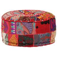 vidaXL Пачуърк кръгъл пуф, памук, ръчна изработка, 40x20 см, червен