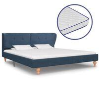vidaXL Легло с матрак от мемори пяна, синьо, плат, 180x200 см