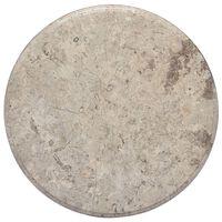 vidaXL Плот за маса, сив, Ø50x2,5 см, мрамор