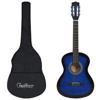 """vidaXL Класическа китара за начинаещи с калъф, синя, 3/4, 36"""""""