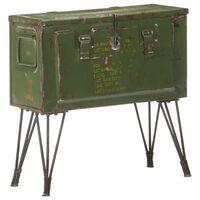 vidaXL Сандък за съхранение, военен стил, 68x24x66 см, желязо
