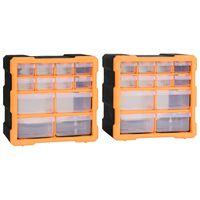 vidaXL Шкафове органайзери с 12 чекмеджета, 2 бр, 26,5x16x26 см