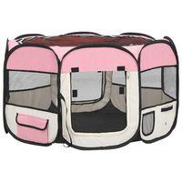 vidaXL Сгъваема кучешка кошара с чанта за носене розова 110x110x58 см