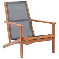 vidaXL Градински релакс стол сив евкалиптово дърво масив и textilene