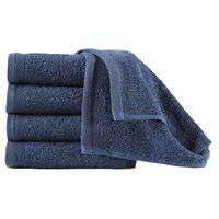 vidaXL Кърпи за гости, 10 бр, памук, 450 г/м², 30x50 см, тъмносини