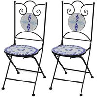 vidaXL Сгъваеми бистро столове, 2 бр, мозайка, синьо и бяло