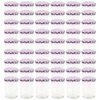 vidaXL Стъклени буркани за сладко с бяло-лилави капачки 48 бр 400 мл