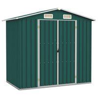 vidaXL Градинска барака, зелена, 205x129x183 см, поцинкована стомана