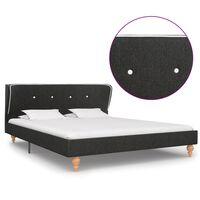 vidaXL Рамка за легло, тъмносива, конопен плат, 140x200 см