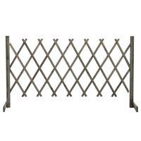 vidaXL Градинска оградна решетка, сива, 150x80 см, чам масив