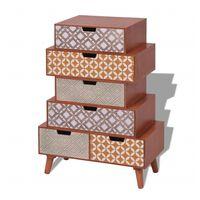 vidaXL Страничен шкаф 6 чекмеджета, кафяв