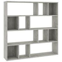 vidaXL Разделител за стая/библиотека, бетонно сив, 110x24x110 см, ПДЧ