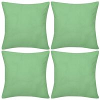 vidaXL Калъфки за възглавници 4 бр, памук, 40 x 40 см, ябълково зелено