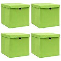 vidaXL Кутии за съхранение с капаци 4 бр зелени 32x32x32 см текстил
