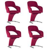 vidaXL Трапезни столове, 4 бр, виненочервени, кадифе