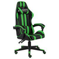 vidaXL Геймърски стол, черно и зелено, изкуствена кожа