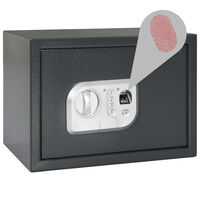 vidaXL Цифров сейф с пръстов отпечатък, тъмносив, 35x25x25 см