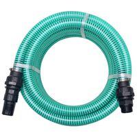 vidaXL Смукателен маркуч със съединители, 10 м, 22 мм, зелен