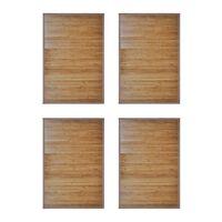 vidaXL Бамбукови постелки за баня, 4 бр, 60x90 см, кафяви