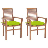 vidaXL Трапезни столове 2 бр светлозелени възглавници тик масив