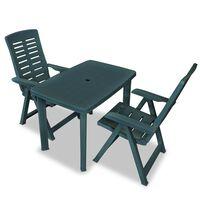 vidaXL Бистро комплект, 3 части, пластмаса, зелен