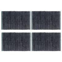 vidaXL Подложки за хранене, 4 бр, Chindi, антрацит, 30x45 см, памук