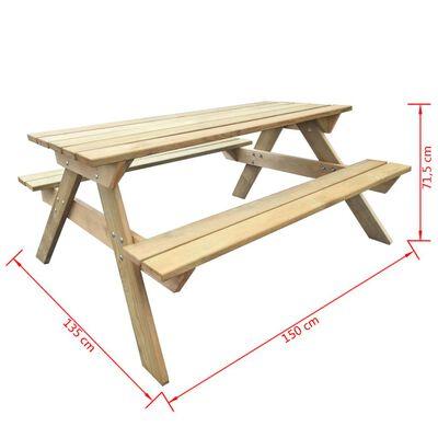 vidaXL Маса за пикник, 150x135x71,5 см, дърво