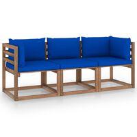 vidaXL Градински 3-местен палетен диван със сини възглавници бор