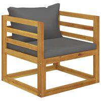 vidaXL Градински стол с тъмносиви възглавници, акация масив